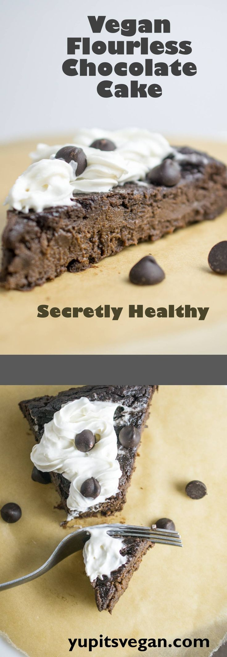 Magical Flourless Chocolate Cake | Yup, it's Vegan. Dairy-free, egg-free flourless cake me with 3 crazy ingredients! A decadent, fudgy dark chocolate delight.