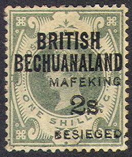 "Mafeking Siege        ""2s"" on 1/- green ""British Bechuanaland"" (13 April 1900)"