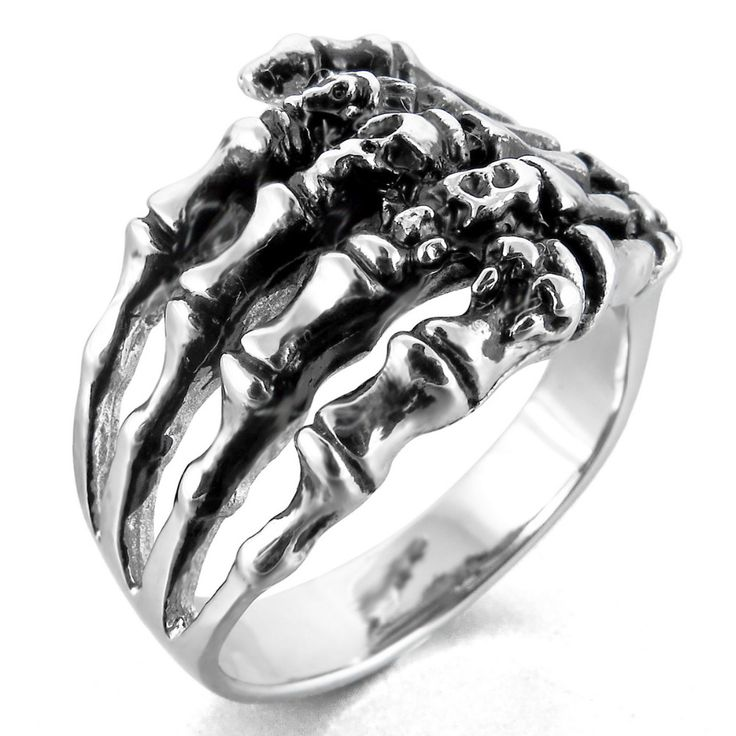Stainless Steel Jewelry Skeleton Hand Ring anel Men's Cool Punk Gothic Ghost Biker Band Skull  Silver Size 7-14 Free Shippin