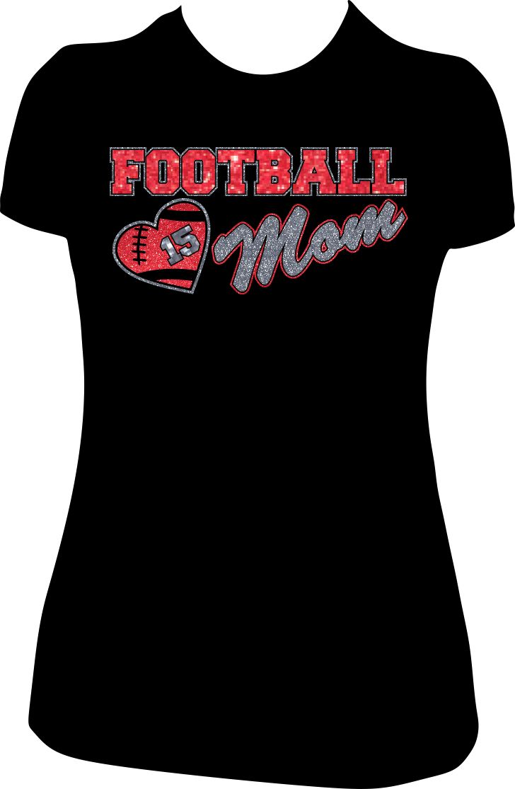 17 best images about custom football mom glitter tees for Personalized football t shirts