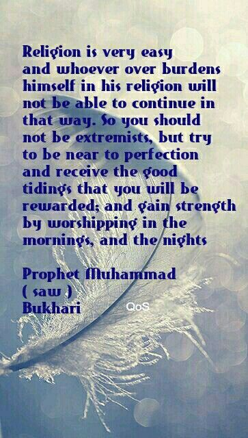 Don't be extremists but try to be near to perfection