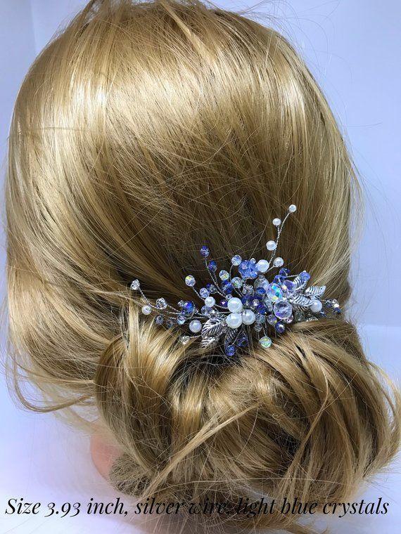 Light Blue Bridal Hair Comb Bridal Hair Accessories Blue Bridal