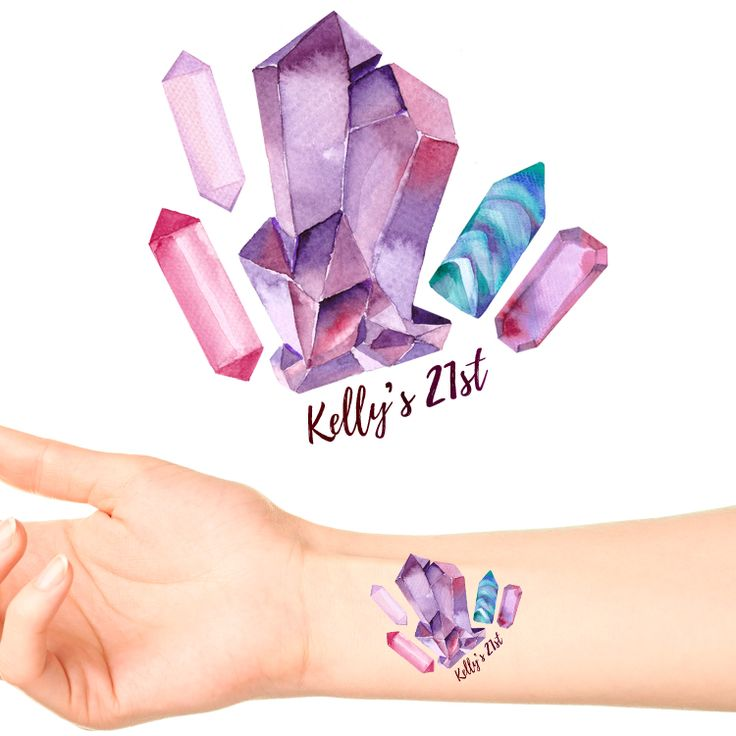 Boho Crystals Birthday Temporary Tattoos #1124 (24 pack)