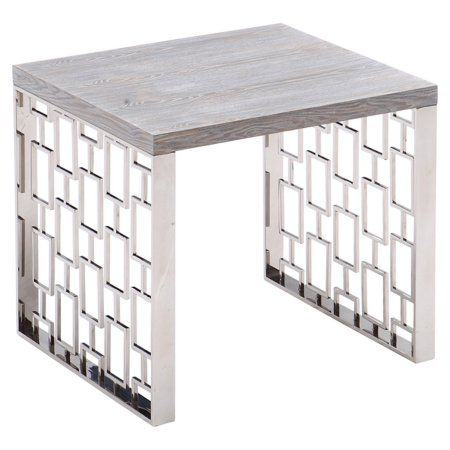 Armen Living Skyline Grey Wash End Table in Brushed Steel Finish, Gray