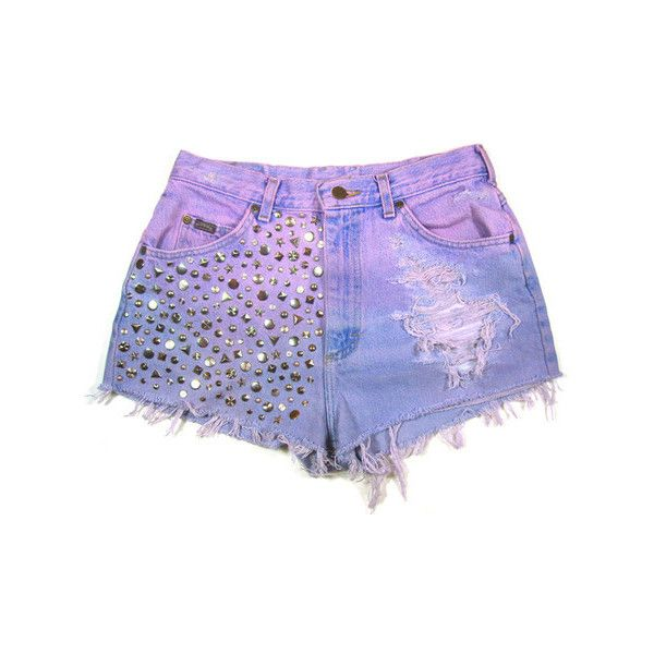 Dip dyed Studded Vintage Shorts ❤ liked on Polyvore