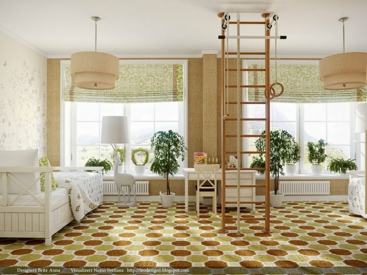 Interior, Exotic Home Gym Room Ideas And Tips Design: Stair And Gym In The  Ceiling With Vintage White Chair Also Orange White Floor Pattern
