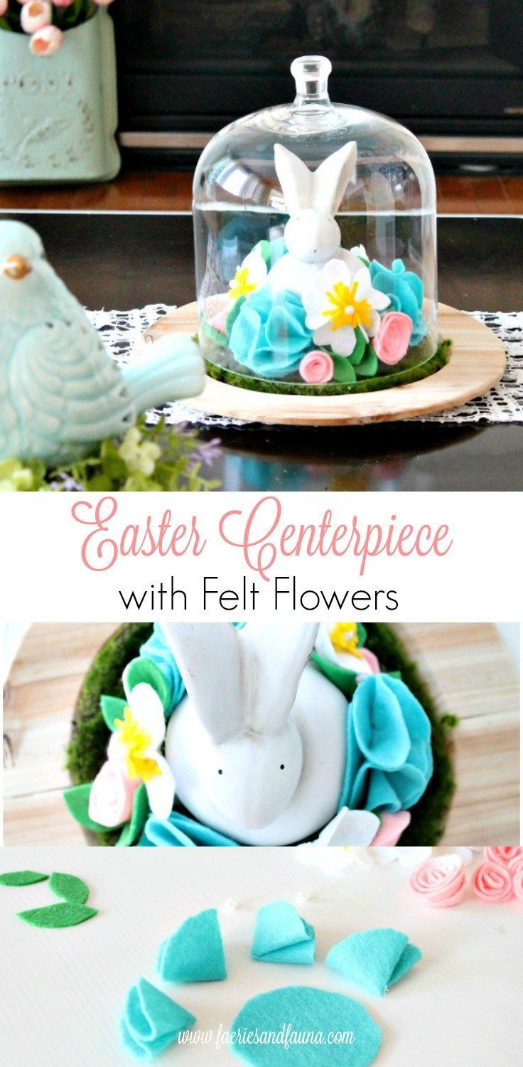 Make an easy DIY Easter centerpiece using handmade felt flowers. Can be used as a cloche centerpiece or left as is. This easy Easter craft is easy enough for children to join in.