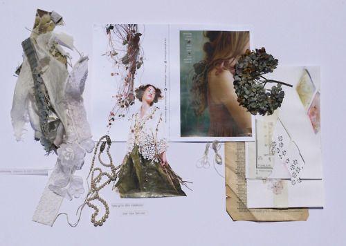 Fashion Design Moodboard  - delicate, pretty, organic forms, texture