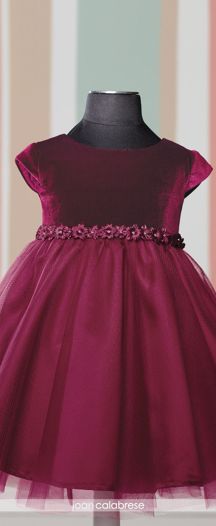 Joan Calabrese for Mon Cheri - Fall 2016 - Style No. 216327B - burgundy baby/toddler flower girl dress with velvet bodice and tulle skirt