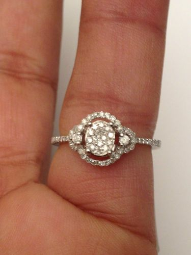 Vintage glam White Gold Oval Double Halo Vintage Antique Style Diamond Engagement