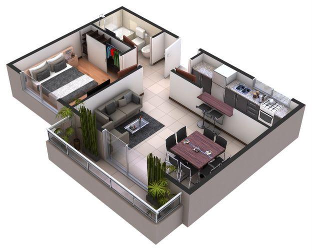 Plano de departamento departamentos pinterest for Hacer planos 3d