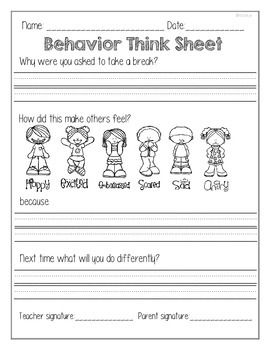 Hold your students to high expectations throughout the school year. This 'Think Sheet' gives your students a chance to think about their behavior that they needed to take a break from and come up with a new plan of action. It also focuses on how their behavior effects others in their class not just themselves.