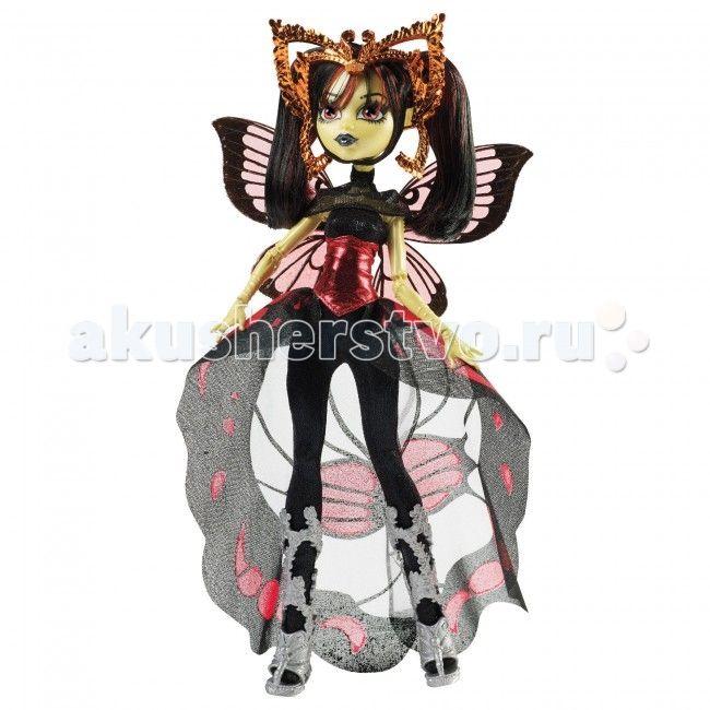 """Monster High Кукла Бу Йорк, Бу Йорк Луна Мотьюс  Кукла Monster High Бу Йорк, Бу Йорк Луна Мотьюс не оставит равнодушной ни одну поклонницу """"Школы монстров"""".   Луна Мильюз – дочь Человека Мотылька.   Особенности: Луну как истинного мотылька притягивает яркая слава. Она любит и петь, и танцевать, и играть роли – девушка не может остановиться на чем-то одном. Она ненавидит рано вставать и ее раздражает, когда подруги думают, что она может съесть их одежду словно моль. Луна называет свой…"""