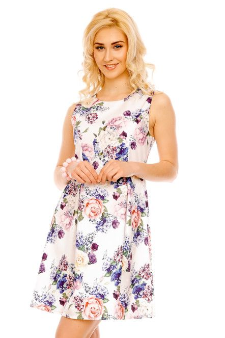 Společenské šaty s kolovou sukní středně dlouhé květované bílé ... 23c953ace37