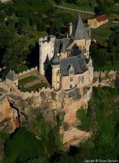 """""""CHATEAU De MONTFORT"""" is a Castle in the French Commune of Vitrac in the Dordogne Département, Part of the Region of Aquitaine -  The Castle is on a Promontory Overlooking the Cingle de Montfort on the Dordogne River – in 1214 Simon de Montfort Razed it to the Ground -  The Castle was Later Rebuilt, but again Destroyed Another 3 Times During the Hundred Years' War"""