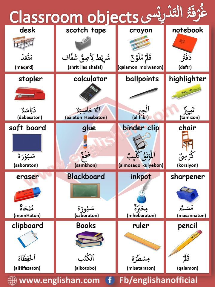 Classroom Object Vocabulary In Arabic And English Learn Arabic Language Arabic Language Learning Arabic