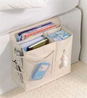 Bedside Storage Caddy. Great for getting up the morning and craving things on the go and its out if the way!!