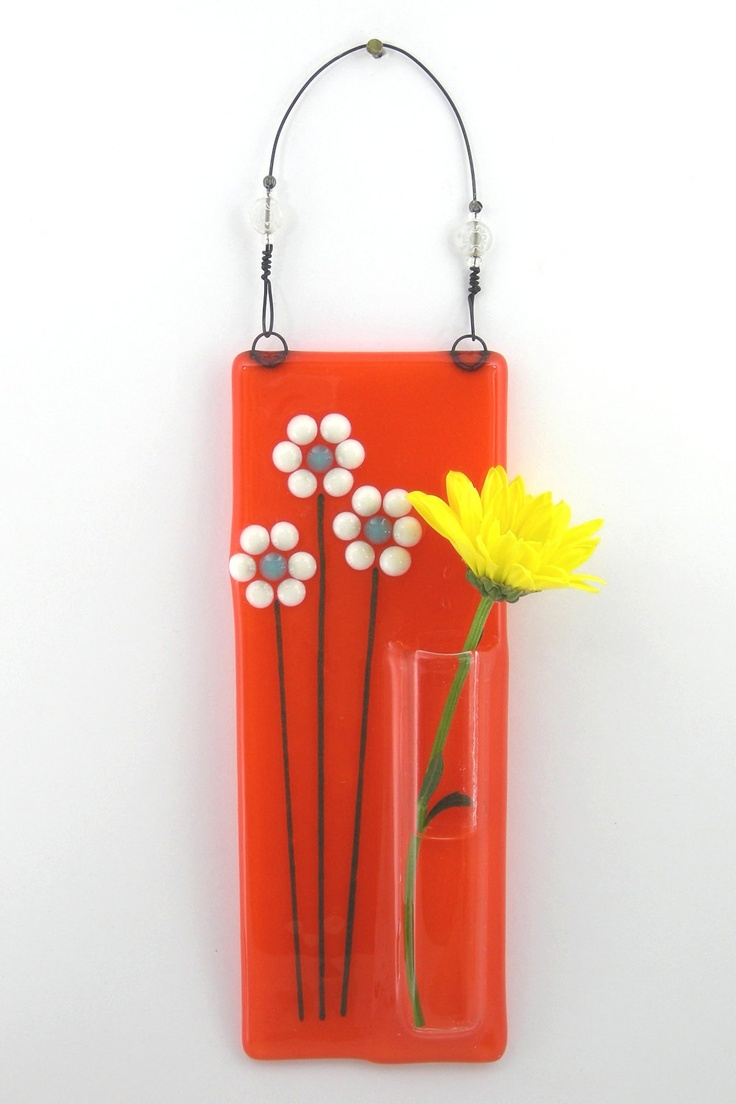 Wall vases for flowers - Hanging Bud Vase Fused Glass Pocket Vase Flower Vase Wall Vase Orange With White Daisies