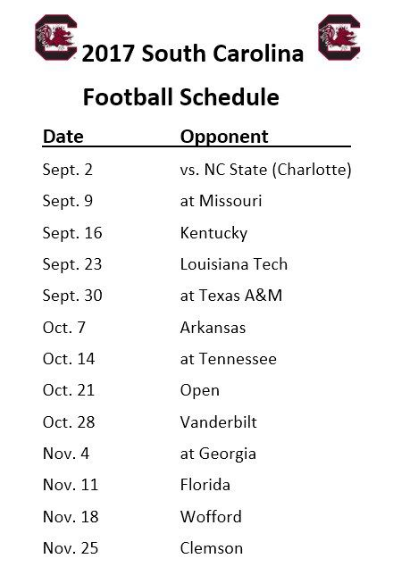 Printable 2017 South Carolina Gamecocks Football Schedule