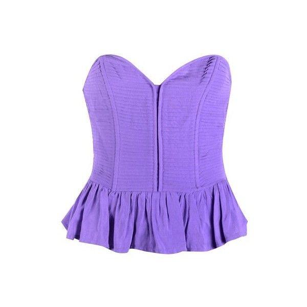 PLEATED PEPLUM BANDEAU ($25) ❤ liked on Polyvore featuring tops, shirts, blusas, corset, peplum corset, purple bandeau top, purple peplum top, pleated top and purple shirt