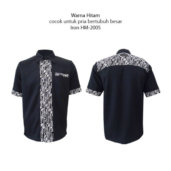 Warna Hitam untuk pria bertubuh besar  #kemejabatikmedogh  http://medogh.com/baju-batik-pria/kemeja-batik-pria/Kemeja-Batik-Optimus-Series-Kemeja-Iron-HM-2005