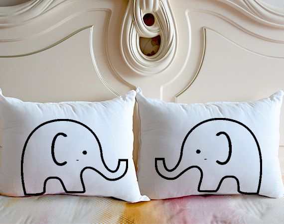 Cute Elephant bedding pillow case,personalized couple pillow cover,wedding gifts…