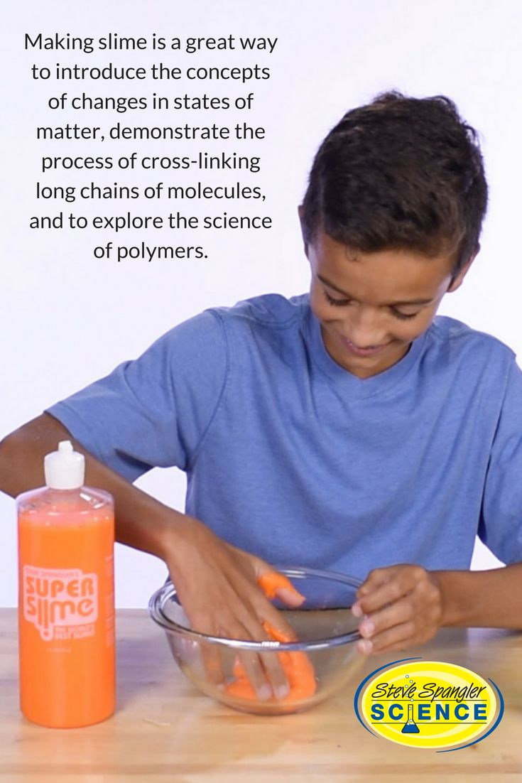 Making slime is a great way to introduce the concepts of changes in   states of matter (from a liquid to a solid), demonstrate the process of   cross-linking long chains of molecules, and to explore the science of   polymers.