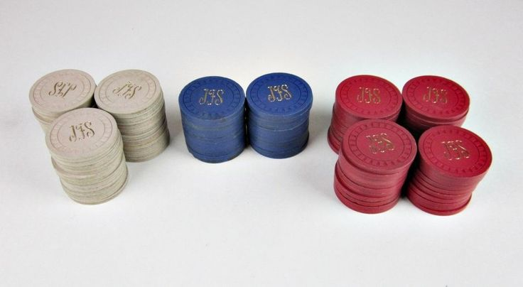 "106 Vintage Clay Poker Chips Set Monogrammed ""JFS"" 5 Cent 10 Cent 25 Cent"