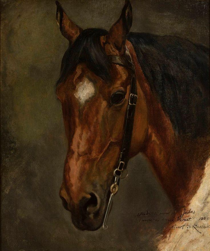 """Juliusz Kossak (1824-1899), """"Głowa konia"""", 1855, olej, płótno."""