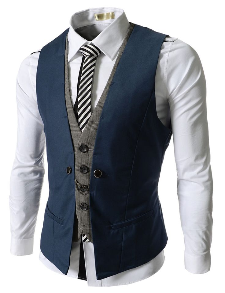 Blue Business Men Layered Vests Clothing