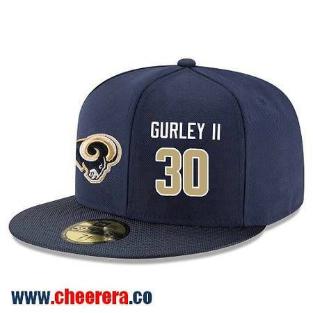 Los Angeles Rams #30 Todd Gurley Snapback Cap NFL Player Navy Blue with Gold Number Hat