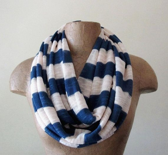 Striped Sailor Scarf - Nautical Infinity Scarf - Sweater Scarf with Stripes - Navy Blue and Ivory Loop Scarf, Eternity Scarf on Etsy, $28.50
