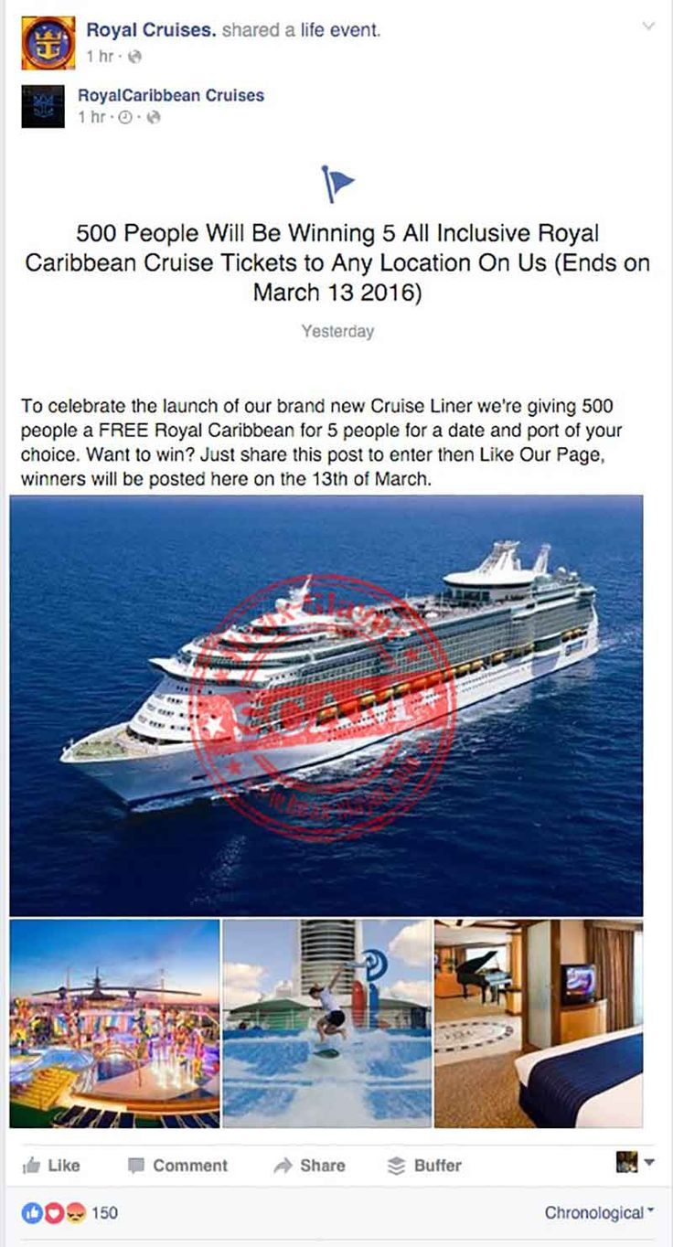 Best 25 cruise tickets ideas on pinterest boarding pass facebook scam promises royal caribbean cruise tickets to any location xflitez Images