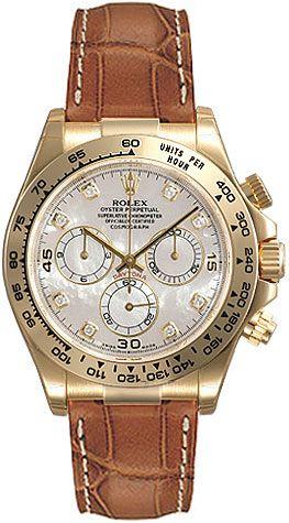 Rolex Daytona Mother of Pearl Diamond Dial Leather Bracelet 18k Yellow Gold Mens Watch 116518MDL US$22985