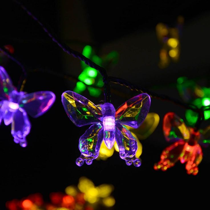 Qedertek Butterfly Solar String Lights, 24.6ft 40 LED Waterproof Christmas Lights Decorative Lighting for Indoor, Outdoor, Home, Fence, Garden, Patio, Lawn, Party(Multi-Color) - - Amazon.com