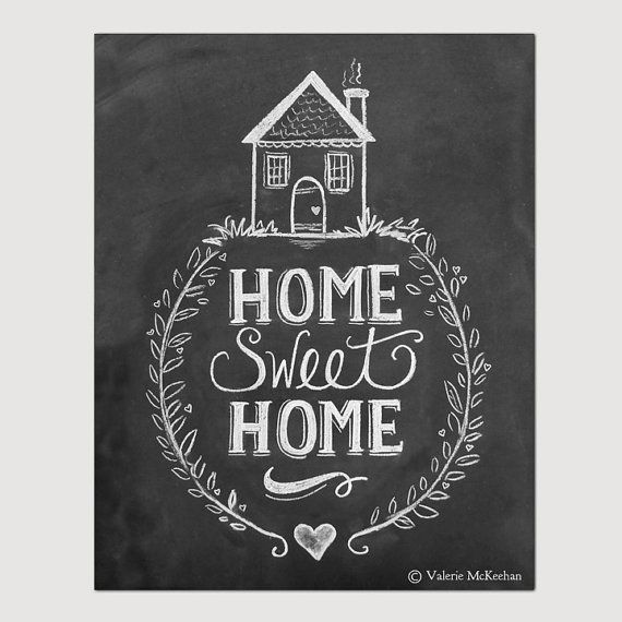 Home Sweet Home Print  Chalkboard Art  Home Sweet by LilyandVal, $29.00