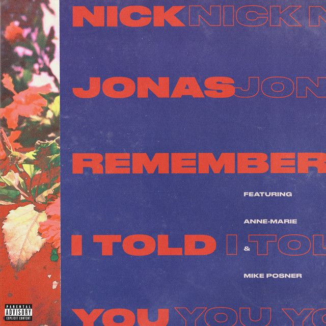 Remember I Told You, a song by Nick Jonas, Anne-Marie, Mike Posner on Spotify