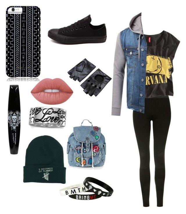 """Band trash girl"" by loekievanede on Polyvore featuring mode, Topshop, Chicnova Fashion, BillyTheTree, Savannah Hayes, Converse en Lime Crime"