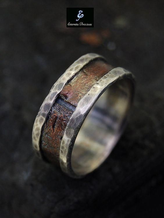 Mens Rustic Silver Copper Ring Rugged And Rough Men Ring Mens Wedding Band Handmade Engag Engagement Rings For Men Mens Wedding Rings Rugged Wedding Ring