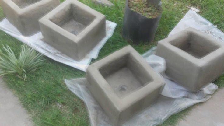 vaso que fiz com isopor e cimento para plantar mudas frutiferas