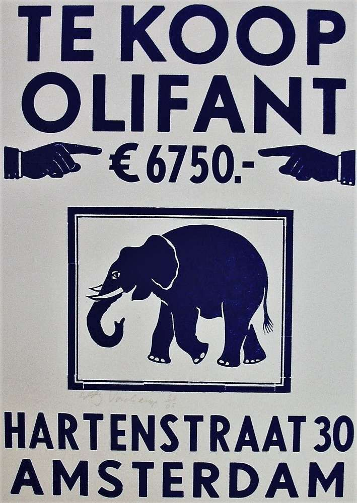 Linocut, Elephant for sale