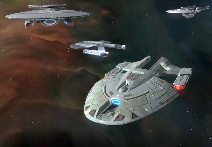 Nebula, Excelsior, Akira, and Norway class starships from Star Trek: Legacy