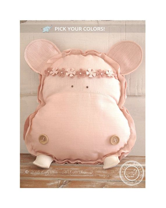 Baby Hippo Pillow Personalized Baby Pillow Nursery by LollyCloth