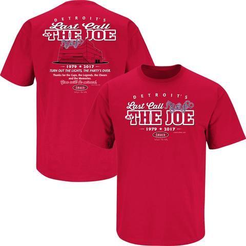 NHL Smack Apparel Detroit Red Wings Men's Last Call at the Joe Short Sleeve T-Shirt