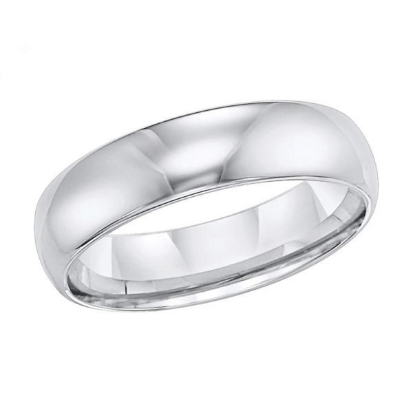 6mm wide polished white tungsten mens wedding band. This wedding ring is made of high polished white tungsten, which closely resembles the look of white gold. C