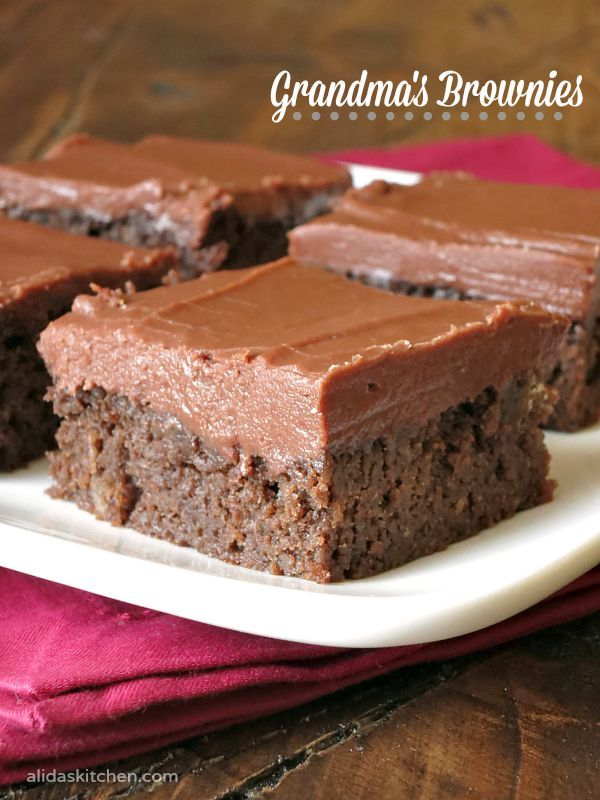 An easy recipe for my Grandma's Brownies w/ the BEST fudgy frosting!