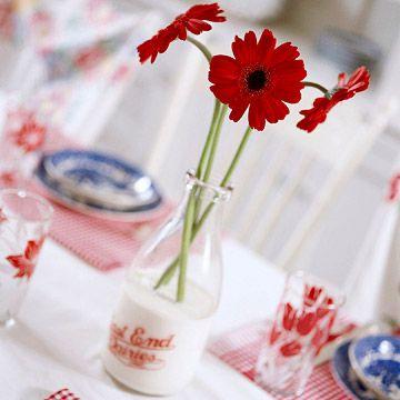 Milk bottles for vases!!!