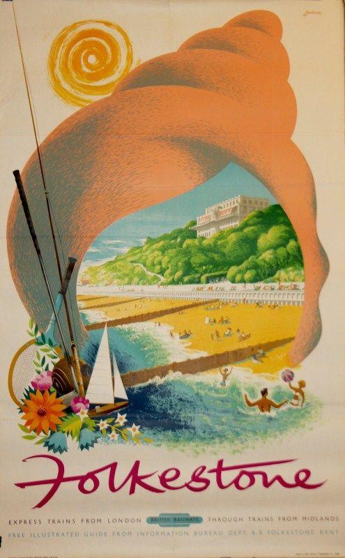 Reginald Montague Lander (b.1913)  Folkestone Poster | British Railways #r_m_lander #vintageposter