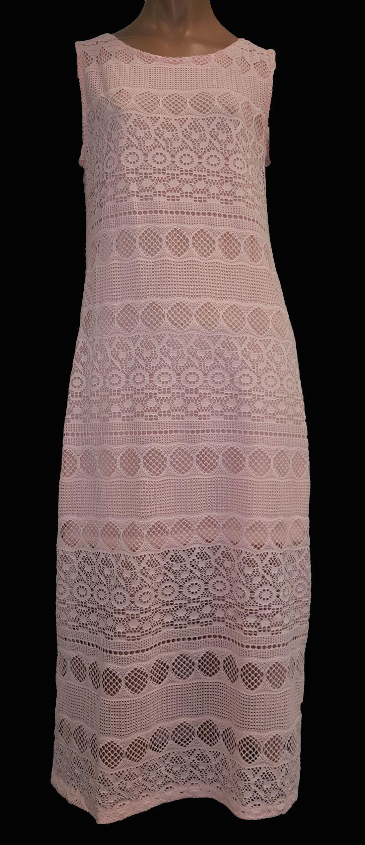 Super leuk gehaakt jurkje in perzik - Verkrijgbaar in de maten S/M en M/L € 24,95 GRATIS VERZENDING!!