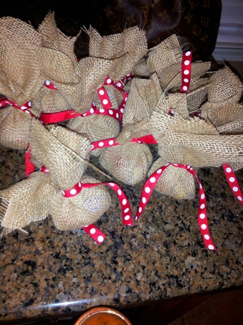 Country themed Party!   Burlap candy satchels for guest favors